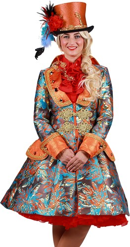 Carnavalsjas Brokaat Oranje-Goud voor dames