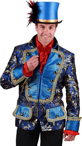 Carnavalsjas Brokaat Blauw-Goud voor heren
