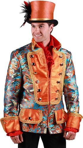 Carnavalsjas Brokaat Oranje-Goud voor heren