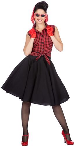 Dameskostuum Rockabilly Rizzo Rood/Zwart - Jaren 50