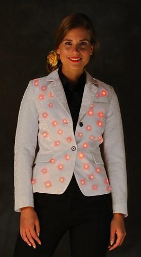 Dames Glitter Colbert Zilver met LED-verlichting