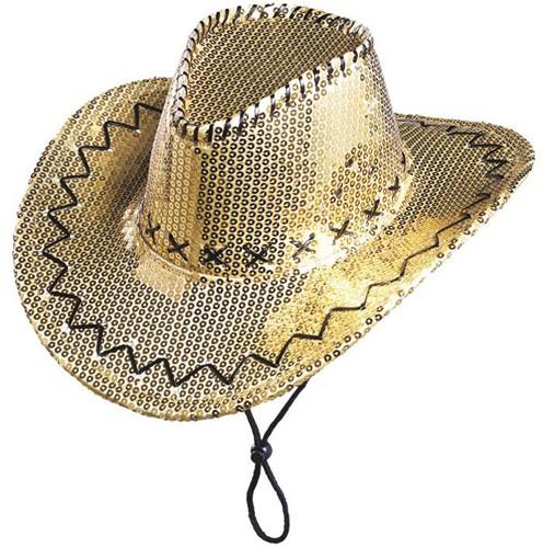 Cowboyhoed Pailletten Glitter Goud