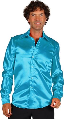 Overhemd Satijn Turquoise