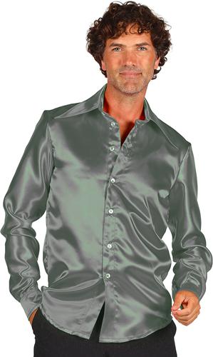 Overhemd Satijn Zilver/Grijs