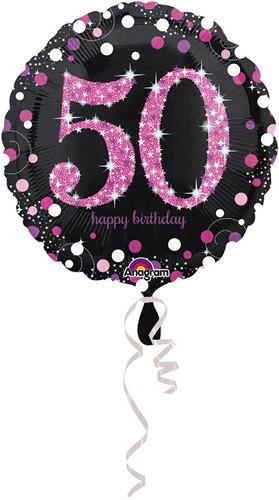 Folieballon 50 Jaar Luxe Zwart/Pink (45cm)