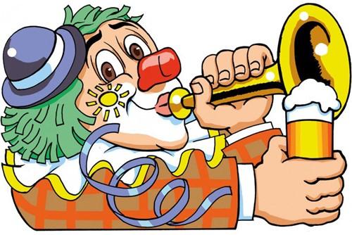 Wanddeco Clown Bier/Trompet