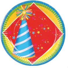 Bordjes Happy Birthday 8st 18cm