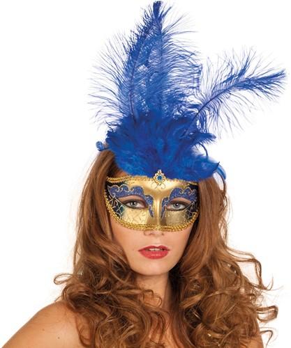 Venetiaans Masker Grote Veer Blauw
