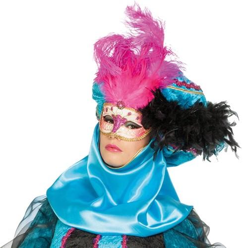 Venetiaans Masker Grote Veer Roze
