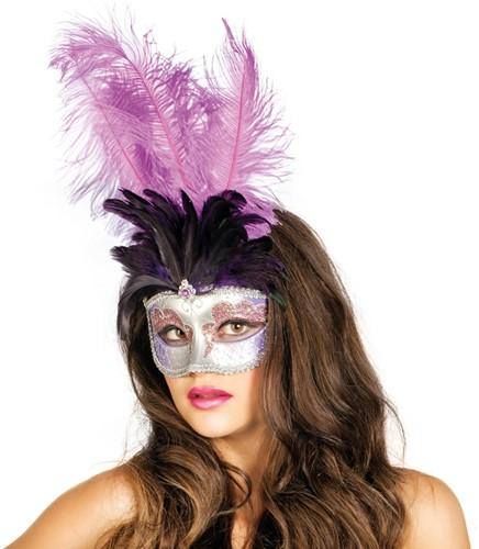 Venetiaans Masker Grote Veer Paars