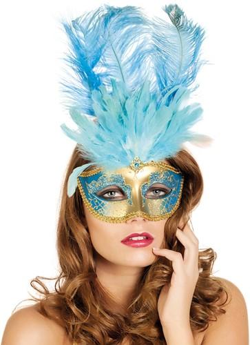 Venetiaans Masker Grote Veer Turquoise