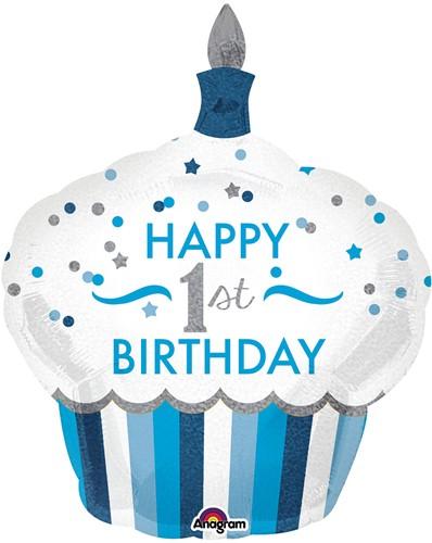 Supershape Folieballon 1st Birthday Cupcake Boy (73x91cm)