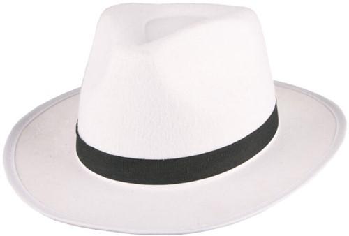 Hoed Al Capone Vilt Wit