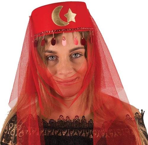 Hoed Harem Dame Rood