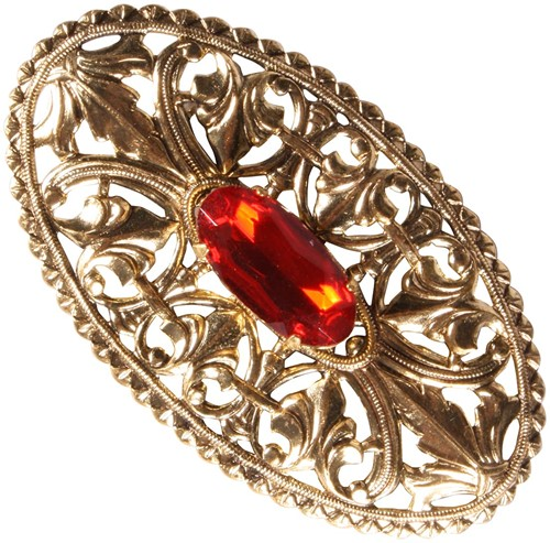 Gouden Baretspeld Ovaal met Rode Steen