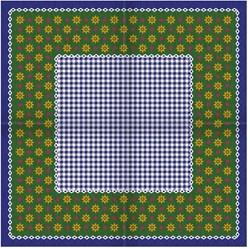 Tiroler Zakdoek - Sjaal Blauw met Bloemen