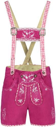 Dames Lederhose Suede Pink