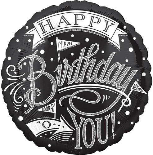 Folieballon Happy Birthday Zwart/wit