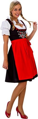 Dirndl Zwart-Rood 60cm Luxe 3dlg. (100% Katoen)
