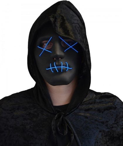 Halloween Masker Zwart met LED-verlichting (The Purge)