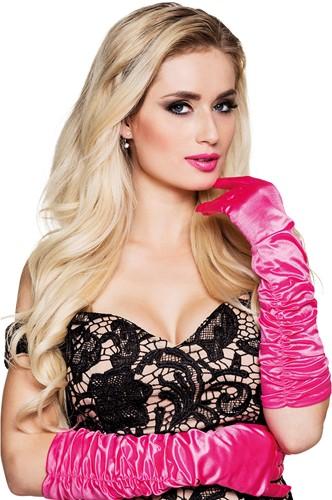 Handschoenen Satijn Roze Geplooid (60cm)