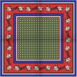 Tiroler Zakdoek - Sjaal Blauw Rood Edelweiss