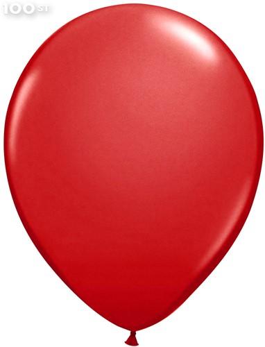 Ballonnen Metallic Rood 35cm - 100 stuks