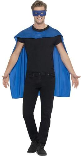 Superhelden Cape Blauw met Oogmasker