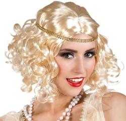 Pruik Charleston Flapper Blond met Hoofdbandje