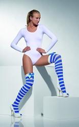 Overknee Kousen Gestreept Blauw-Wit met Strik