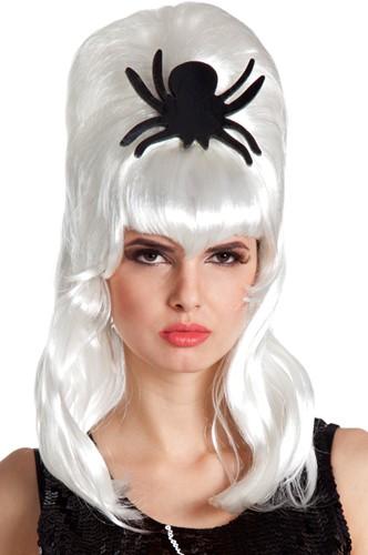 Halloweenpruik Bruid met spin