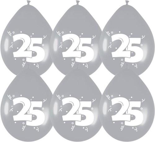 Ballonnen 25 Zilver 6st.
