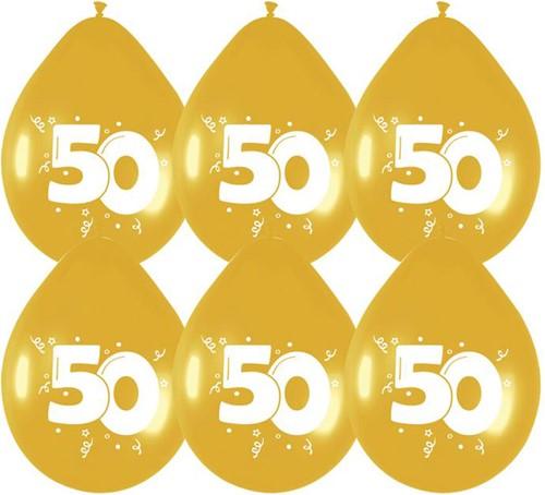 Ballonnen 50 Goud 6st.