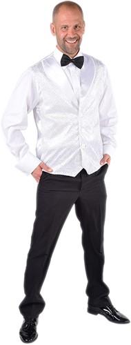 Heren Gilet Wit met Zilveren Pailletten