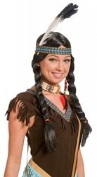 Indianen Pruik Winnie met vlechten