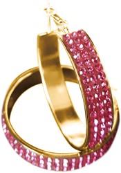 Gouden Oorbellen met Roze Strass (4cm)
