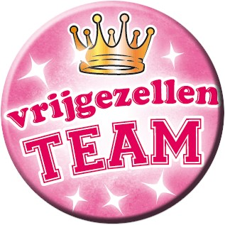 Button Vrijgezellenteam Roze