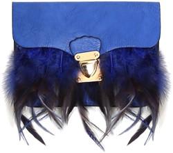 Enveloptasje met Veren en Hengsel Blauw (Clutch)