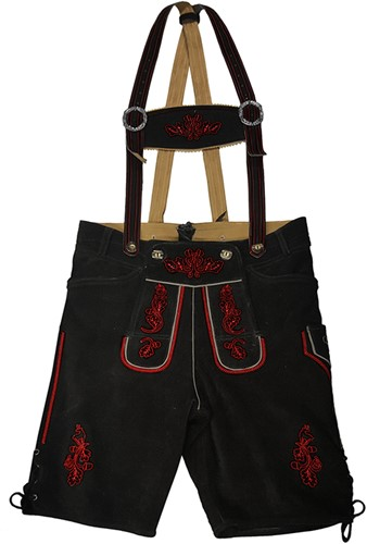 Heren Lederhose Kort Zwart Rundleer (rood stiksel)