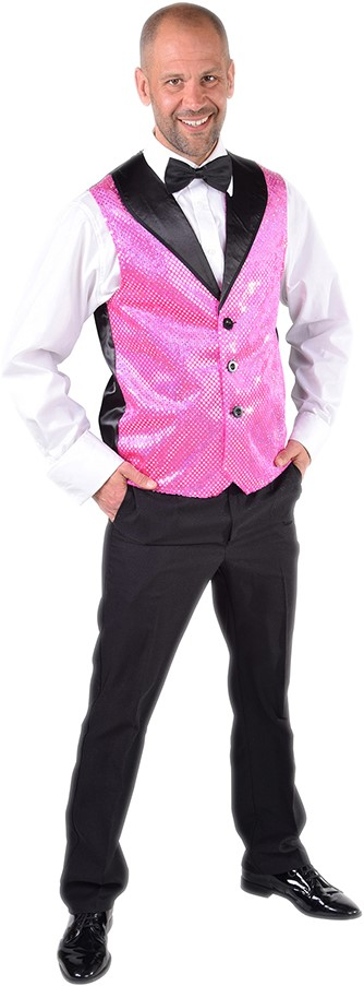 3375a0d2c6b21a Heren Gilet Pink met Zilveren Pailletten