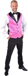 Heren Gilet Pink met Zilveren Pailletten