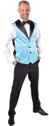 Heren Gilet Turquoise met Zilveren Pailletten