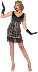 53fcbb77b50beb Charleston Charmer Jurk Zwart-Goud voor dames