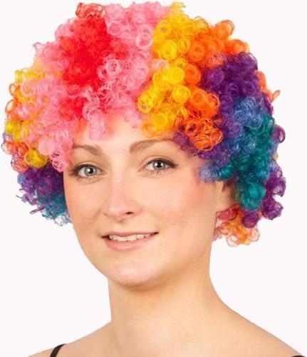 Pruik Clown Regenboog