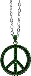 Peace Ketting Groen + Strass