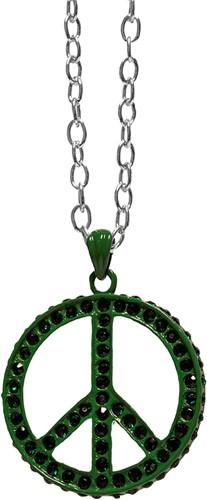 Peace Ketting Groen + Strass