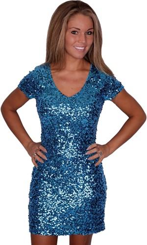Jurkje Pailletten Diva Turquoise