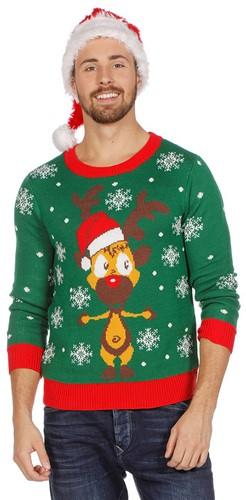 Groene Kersttrui met Rudolf