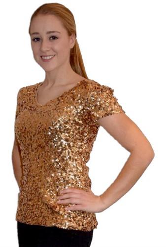 Pailletten Shirt Goud voor dames