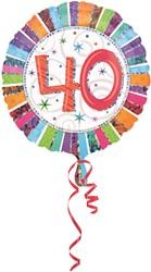 Folieballon 40th B-day Prismat